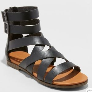 Black leather gladiator sandals!